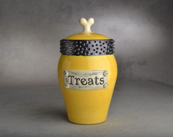 """Dog Treat Jar: """"Treats"""" Faux Metal Plaque Yellow & Black Spiky Collared Treat Jar by Symmetrical Pottery Made To Order"""