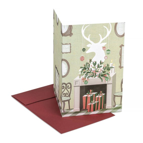 THE FIREPLACE. Funny Christmas card. The fireplace. For friends and family