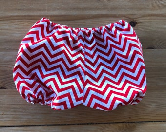 Red and White Chevron Diaper Cover/Bloomers (Newborn, Infant, Toddler, Photo Prop, Cake Smash)