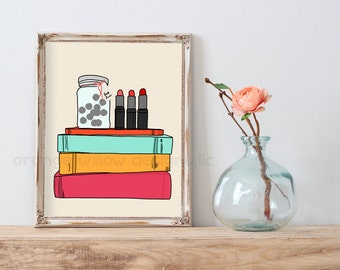 Book and Lipstick lover Art Print  (5AOWDe77) 11x14 Art Book Stack Art Reading Love Reading Book funds art Print Read more books