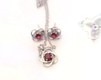Authentic Vintage MATCHING Signed Sterling Silver 925 Natural Garnet EARRING And NECKLACE Set, Wedding, Bride, Bridesmaid, Prom, Birthday
