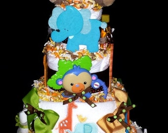 King of the Jungle Diaper Cake - Jungle Themed Diaper Cake with Lots of Baby Items