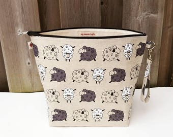 Knitting Project Bag in sheep print linen, Zippered Knitting Bag, Shawl size Knitting Bag, Wedge Knitting Tote, Zipper Pouch