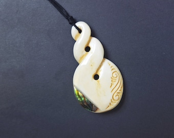Tribal Necklace Bone Pendant jewelry Abolone Shell Necklace Maori Necklaces Handcrafted Jewellery