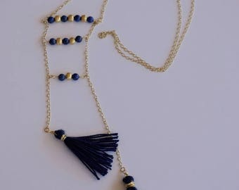 Long lapis necklace -  blue necklace - tasel necklace - gemstone jewelry