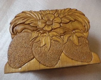 Vintage Wood Napkin Holder Hand Carved Strawberry Floral