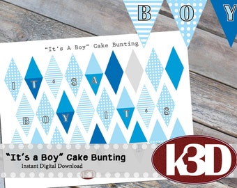 "Mini Cake Bunting ""It's a Boy"", Printable Cake Banner, Cake Decoration, Digital Download"
