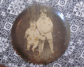 REDUCED Antique Framed Young Victorian Siblings Outdoor Sepia Tone Photo On Tin Round  Convex Metal Picture Frame