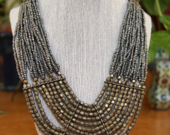 Tribal gun metal(color) and antique gold beads necklace