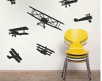 Airplane Wall Decal Stickers, Seven Airplane Wall Vinyl Decal Stickers, Boys Room Wall Decals, Flying Wall Art, Aeroplane Wall Decals, b18