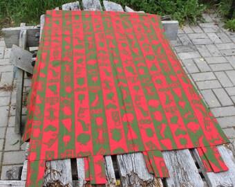 Cortina del Panel rojo sueco cortinas IKEA rojo verde Retro tela Vintage de algodón cortinas / lado cortinas de Navidad