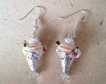 Earrings cherry sundae with biscuit and cream
