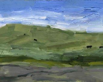 California Plein Air Landscape Oil Painting Original Yolo County Cows Cow Yolo Art Ag Paint Out California Artist Made Fine Wall Art USA