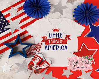"""4th of July """"Little Miss America"""" Girl's Tee"""