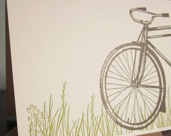 Bike In Grass - 24-Pack Letterpress Printed Greeting Cards