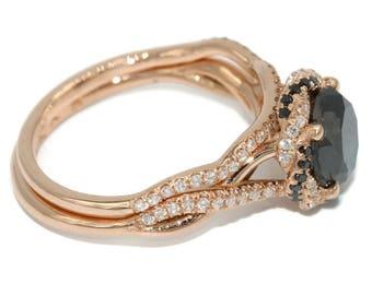 Black diamond rose gold engagement wedding ring set, Dainty infinity ring