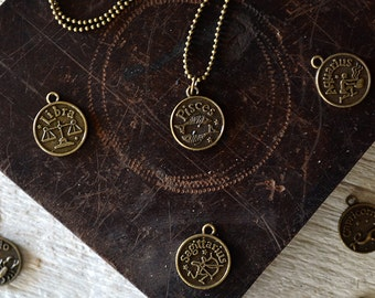 Womens Basic Zodiac Necklace - Choose Your Sign - Horoscope Necklace - For Her - Birthday