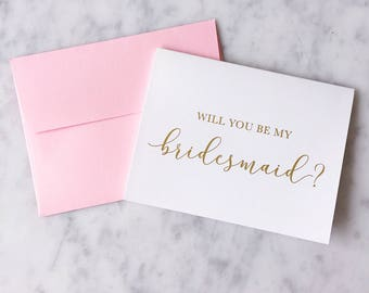 Gold Foil Will You Be My Bridesmaid Card - Bridesmaid Proposal - Bridal Party Card - Bridesmaid Card - Maid of Honor Card - Bridesmaid Gift