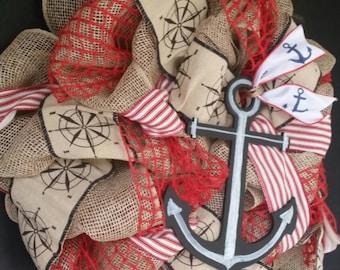 Summer Anchor Wreath Sailor Anchor Burlap Wreath Compass Front Door Wreath Large Anchor Burlap Wreath Rustic Anchor Wreath Summer Burlap