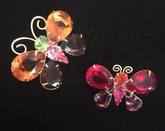 Joan Rivers Butterfly Brooches / Pins, Pair