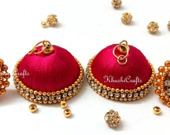 Silk Thread Jhumka Earring ,Indian Thread Earrings/ Jhumki Earrings