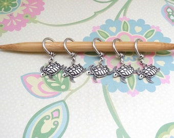 Set of 5 Silver Turtle/Tortoise Snag Free Knitting Stitch Markers, Knit Marker, Progress Markers, WIP Markers, Fits up to 9mm or US 13