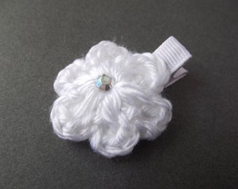 White Hair Clip Crochet Flower Hair Clip White Flower Clip White Clip White Clippie Baby Hair Clip Baby Girl Hair Clip Toddler Girl Simple