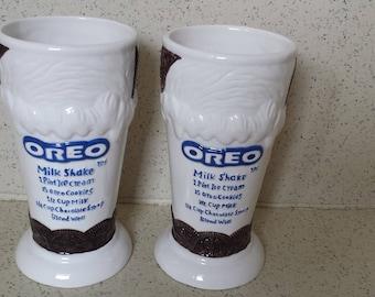 Pair of Oreo Cookie Shake Recipe Glasses