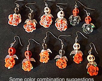 Day of the Dead Angel Skull and Rose Earrings