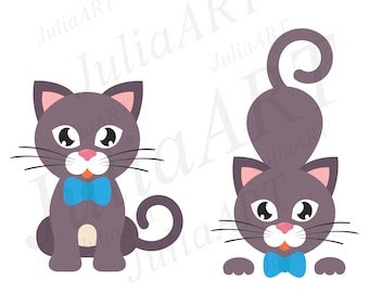 cute cat set with bow vector image