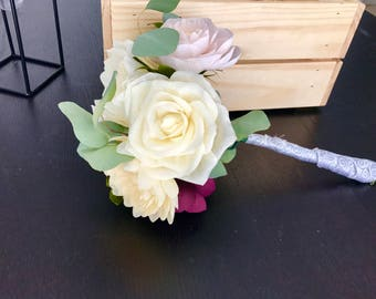 Handmade crepe paper wedding bouquet. White roses and peonies