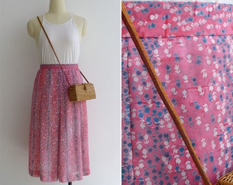 Vintage 80's 'Sugar Cubes' Pink Tulip Floral Textured Squares Skirt XS