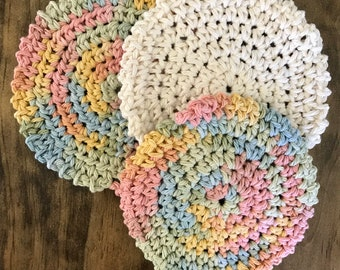 Crochet make up remover/ face scrubbers/ handmade/rainbow