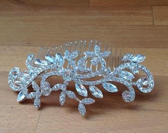 Simple Silver bridal hair piece