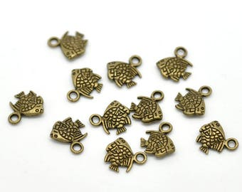 12 charms in antique bronze small fish