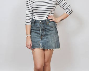 Vintage Re-Made Levi's 501 Denim Mini Skirt 12 - www.brickvintage.com