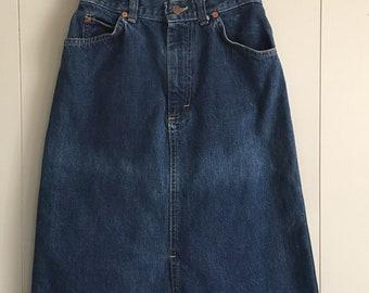 Vintage 80s Lee High Waist Midi Knee Length Denim Skirt
