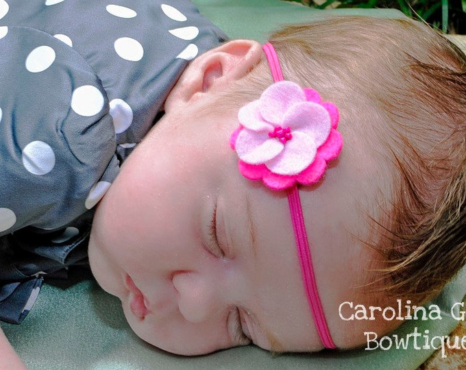 Dark Pink & Pink Felt Flower Headband ~ Infant Headband - Newborn Headband - Toddler Headband ~ Baby Girl Headband
