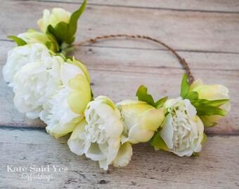 Flower Crown, Peony Flower Crown, Peony Crown, Wedding Crown, Hair Wreath, Bridal Crown, Flower Girl Crown