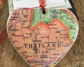 Thailand Map Christmas Ornament, Your Special Place in the Heart / HONEYMOON Gift / Wedding Map Gift / Travel Tree Ornament /
