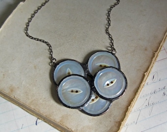 Button Bib Necklace One of a Kind Shell Soldered Jewelry