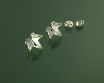 Ivy leaf stud or pole earrings inspired by nature, hand made in 925 sterling silver