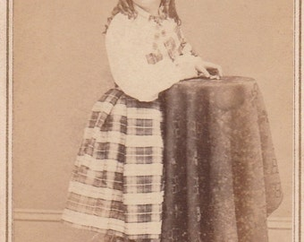 ON SALE Antique CDV carte de visite photograph of girl with plaid skirt and stockings from Brooklyn New York -- vintage old photo ephemera