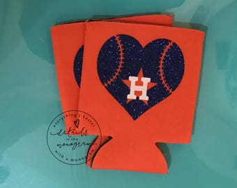 baseball can cooler, Houston beverage insulator, Houston Baseball, Houston Can Cooler, Beverage Insulator,