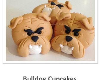 Bulldog Face Cupcakes PDF Tutorial