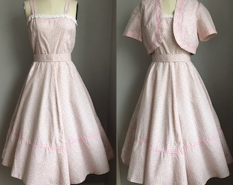 Vintage 1960's Dainty Pink Roses and Lavender Violets Print Sun dress Sun Dress Size Small