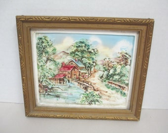 Vintage gold wood framed glazed tile with relief country scene of mill wall hanging not signed
