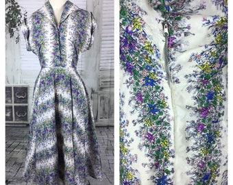 Original Vintage 1950's Floral Novelty Print Day Summer Dress