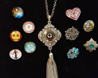 Snap jewelry necklace set, 18mm, includes TEN snaps! works with Ginger Snaps, Snaps to it, etc. Gift set, bundle, bling, rhinestone, sparkle