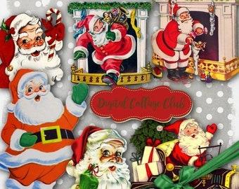 80% OFF Summer Sale Retro Vintage Santa Clipart Digital Christmas Images for Decoupage Scrapbooking Decorations Ornaments Clip Art Collage S